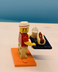 Lego fast food worker with tray