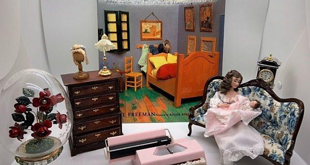 miniature typewriter, dollhouse stuff, art object and book
