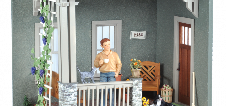 miniature porch with male doll