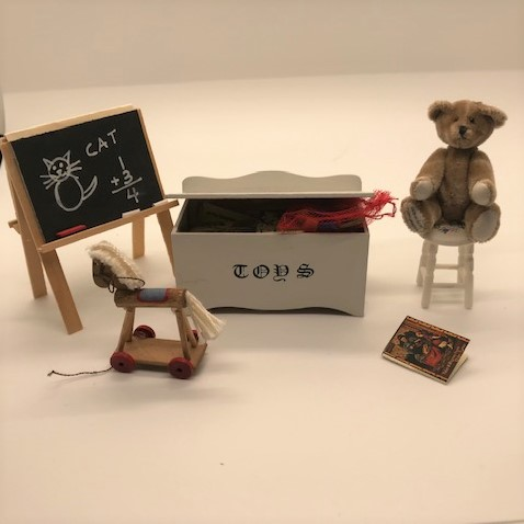 miniature toys including toybox